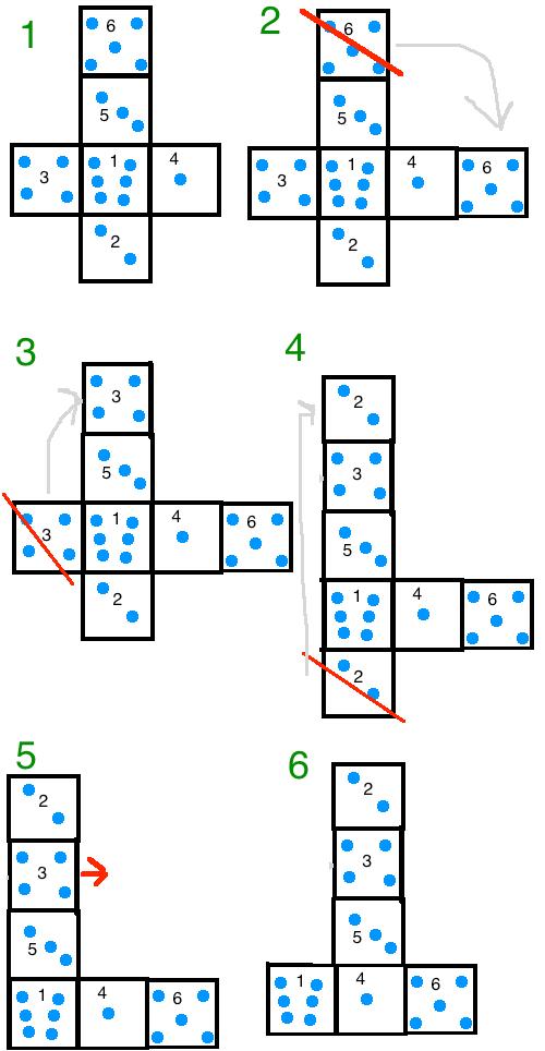 Q13. サイコロの正しい展開図はどれ?